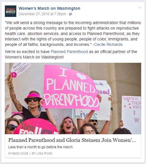 Women's March Facebook post proudly announcing Planned Parenthood partnership.